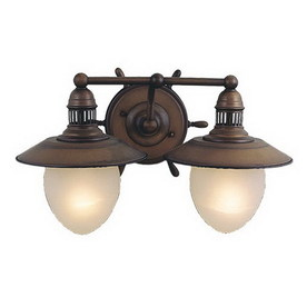 Shop cascadia lighting 2 light nautical antique red copper bathroom vanity light at for Copper bathroom light fixtures