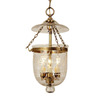 JVI Designs Bell Jar 11-in W Rubbed Brass Hardwired Standard Mini Pendant Light with Flower Glass Clear Shade