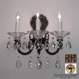Classic Lighting 13-in W Via Lombardi 3-Light 24K Gold Plate Crystal Arm Wall Sconce
