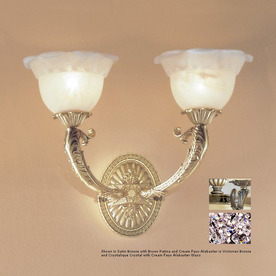 Classic Lighting 16-in W Victorian III 2-Light Victorian Bronze Crystal Accent Arm Wall Sconce
