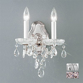 Classic Lighting 9-in W Maria Theresa 2-Light Chrome Crystal Arm Wall Sconce