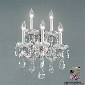 Classic Lighting Maria Theresa 13-in W-Light Olde-World Gold Crystal Arm Hardwired Wall Sconce