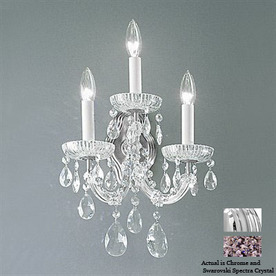 Classic Lighting 11-in W Maria Theresa 3-Light Chrome Crystal Arm Wall Sconce