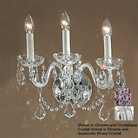 Czech Crystal Wall Lights : Shop Classic Lighting 15-in W Bohemia 3-Light Chrome Crystal Arm Wall Sconce at Lowes.com