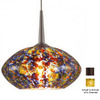 Bruck Lighting Systems 5-5/8-in W Pandora Bronze Mini Pendant Light with Tiffany Style Shade