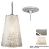 Bruck Lighting Systems Bling Ii 4.75-in W Matte Chrome Art Glass Mini Pendant Light with White Shade
