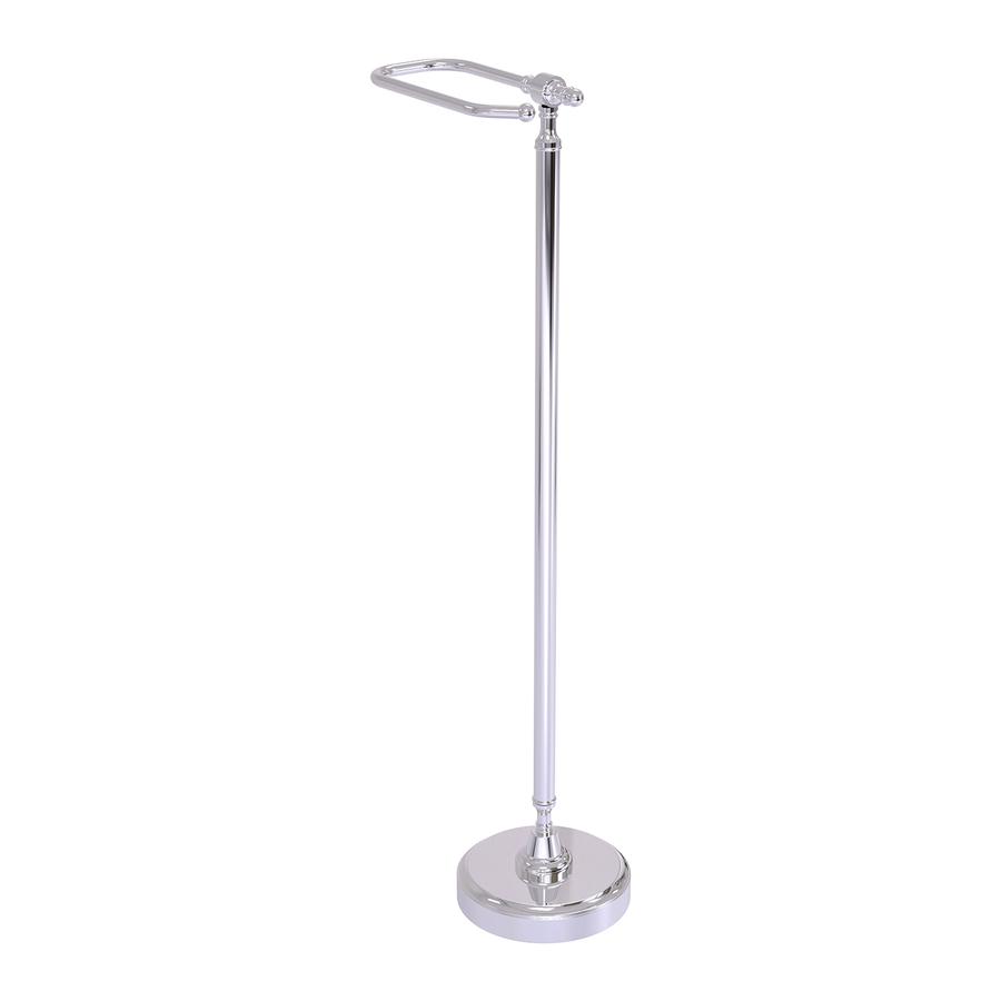 Shop allied brass retro wave polished chrome freestanding floor toilet paper holder at - Toilet paper holder floor stand ...