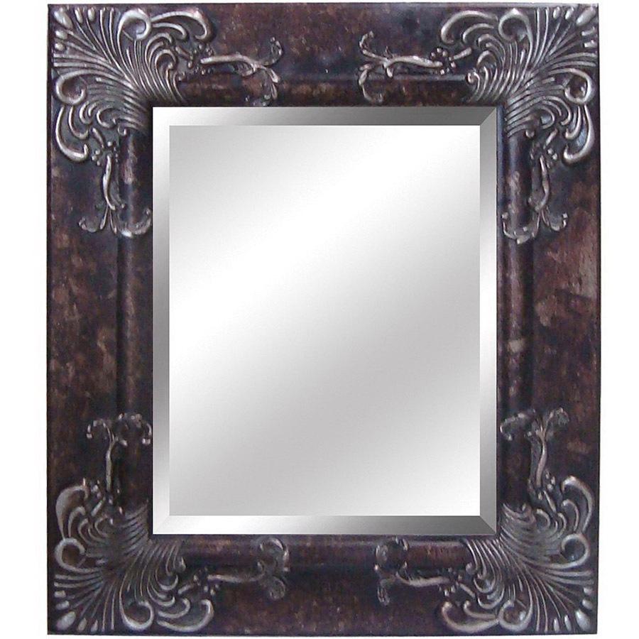 Shop yosemite home decor 28 1 2 in h x 24 5 in w antique - Silver bathroom mirror rectangular ...