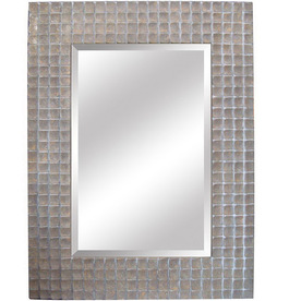 Shop yosemite home decor 37 in w x 49 5 in h silver - Silver bathroom mirror rectangular ...