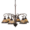 Meyda Tiffany Jeweled Peacock 6-Light Mahogany Bronze Tiffany-Style Chandelier