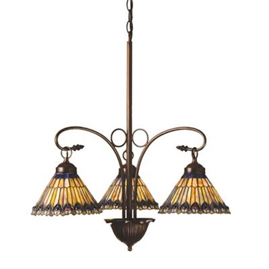 Shop meyda tiffany jeweled peacock 3 light mahogany bronze tiffany style chandelier at lowes com