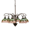 Meyda Tiffany Cabbage Rose 6-Light Mahogany Bronze Tiffany-Style Chandelier