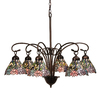 Meyda Tiffany Wisteria 6-Light Mahogany Bronze Tiffany-Style Chandelier