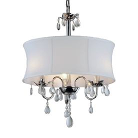 Warehouse of Tiffany Elegant 18-in W Chrome/White Crystal Accent Pendant Light with Fabric Shade
