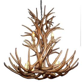 antler design reproduction mule deer 12 light natural brown chandelier