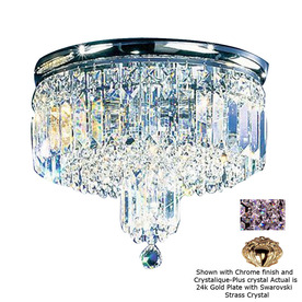 Classic Lighting 13-in 24K Gold Plate Crystal Ceiling Flush Mount