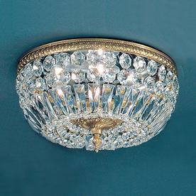 Classic Lighting 14-in W Olde World Bronze Crystal Ceiling Flush Mount