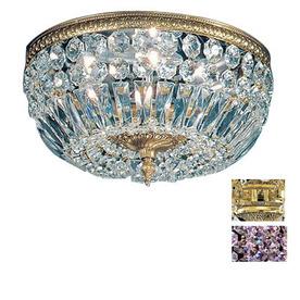 Classic Lighting 18-in Olde World Bronze Crystal Ceiling Flush Mount