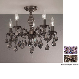Classic Lighting 18-in W Aged Bronze Crystal Accent Semi-Flush Mount Light