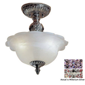 Classic Lighting 13-in Millennium Silver Alabaster Glass Semi-Flush Mount Light