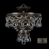 Classic Lighting 15-in W English Bronze with Gold Crystal Semi-Flush Mount Light