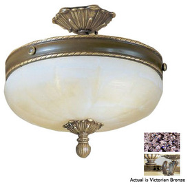 Shop Classic Lighting 15-in Victorian Bronze Alabaster Glass Semi ...