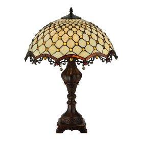 Meyda Tiffany 24-in Mahogany Bronze Art Glass Indoor Table Lamp with Tiffany-Style Shade