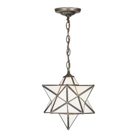 Meyda Tiffany Moravian Star 12-in W Mahogany Bronze Stained Glass Hardwired Standard Pendant Light with White Shade