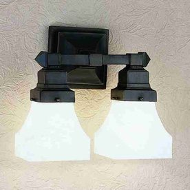 Lowes Tiffany Wall Sconces : Shop Meyda Tiffany Bungalow 13-in W 2-Light Mahogany Bronze Arm Hardwired Wall Sconce at Lowes.com