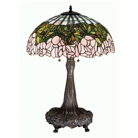 Meyda Tiffany 31-in Mahogany Bronze Indoor Table Lamp with Tiffany-Style Shade