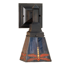 Lowes Tiffany Wall Sconces : Shop Meyda Tiffany Prairie 5-in W 1-Light Mahogany Bronze Tiffany-Style Arm Hardwired Wall ...
