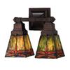 Meyda Tiffany Prairie 12-in W 2-Light Mahogany Bronze Tiffany-Style Arm Hardwired Wall Sconce