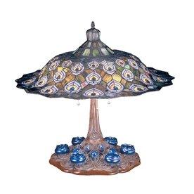 Meyda Tiffany Tiffany Peacock Feather 26.5-in Mahogany Bronze Indoor Table Lamp with Tiffany-Style Shade