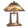 Meyda Tiffany 20-in Mahogany Bronze Indoor Table Lamp with Tiffany-Style Shade