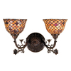 Meyda Tiffany 17-1/2-in W Fishscale 2-Light Mahogany Bronze Tiffany Style Arm Wall Sconce