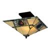 Meyda Tiffany Pinecone Mission 17-in W Antique Copper/Mahogany Bronze Opalescent Glass Semi-Flush Mount Light
