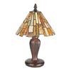 Meyda Tiffany Jadestone Delta 13-in Mahogany Bronze Tiffany-Style Indoor Table Lamp with Glass Shade