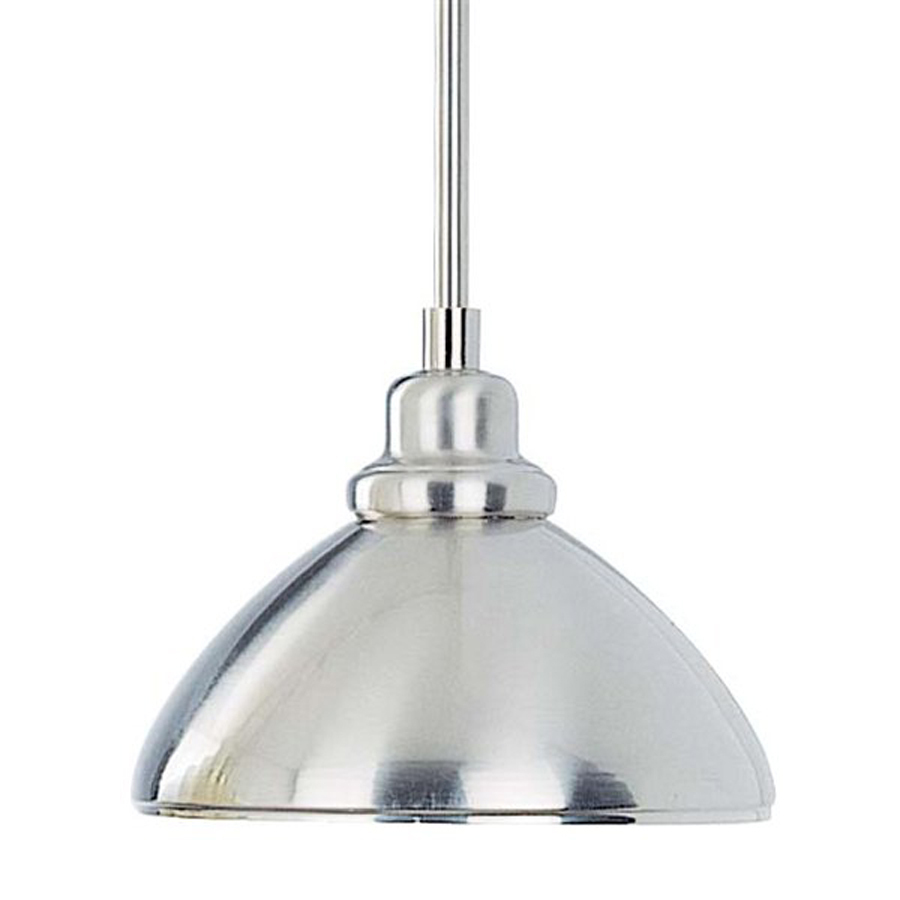 in w brushed nickel mini pendant light with metal shade at