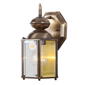 Volume International 10-1/4-in Antique Solid Brass Outdoor Wall Light