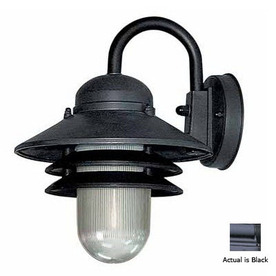 Volume International Retro 10-in Black Outdoor Wall Light
