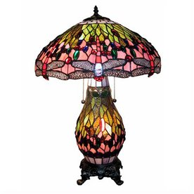 Warehouse of Tiffany Tiffany-Style Indoor Table Lamp with Glass Shade