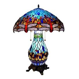 Warehouse of Tiffany Dragonfly 26-in Bronze Tiffany-Style Table Lamp with Glass Shade
