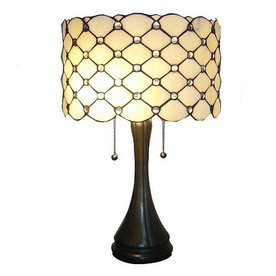 Warehouse of Tiffany 22-in Bronze Tiffany-Style Table Lamp with Glass Shade