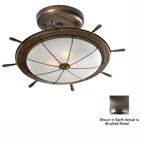 Lustrarte 19.29-in W Brushed Nickel Semi-Flush Mount Light