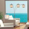 Trend Lighting Lux 83-in Black Marble Multi-Head Indoor Floor Lamp with Fabric Shades