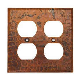 Premier Copper Products 2-Gang Oil-Rubbed Bronze Decorator Duplex Receptacle Metal Wall Plate