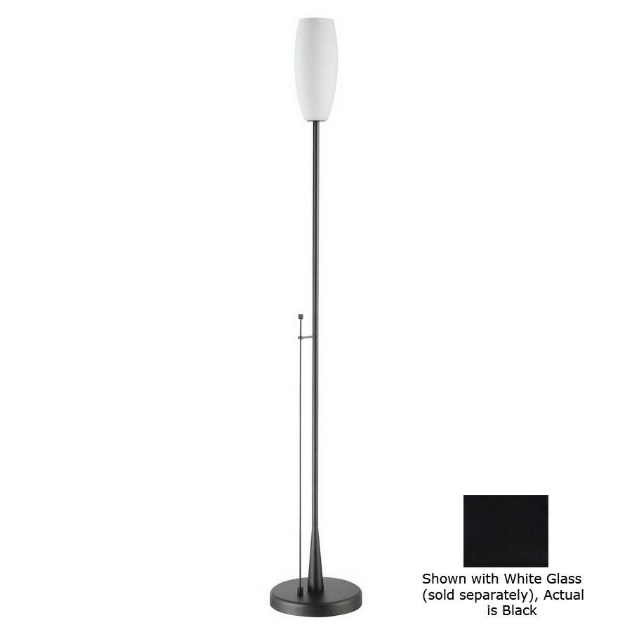 71 in black torchiere indoor floor lamp with glass shade at. Black Bedroom Furniture Sets. Home Design Ideas
