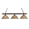 Meyda Tiffany Diamond and Jewel 14-in W 3-Light Mahogany Bronze Kitchen Island Light with Tiffany-Style Shade