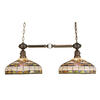 Meyda Tiffany Edwardian 13-in W 2-Light Mahogany Bronze Kitchen Island Light with Tiffany-Style Shade