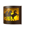 P&D Metal Works Mustangs 14-in W 1-Light Powder Coated Brown Sugar Pocket Hardwired Wall Sconce